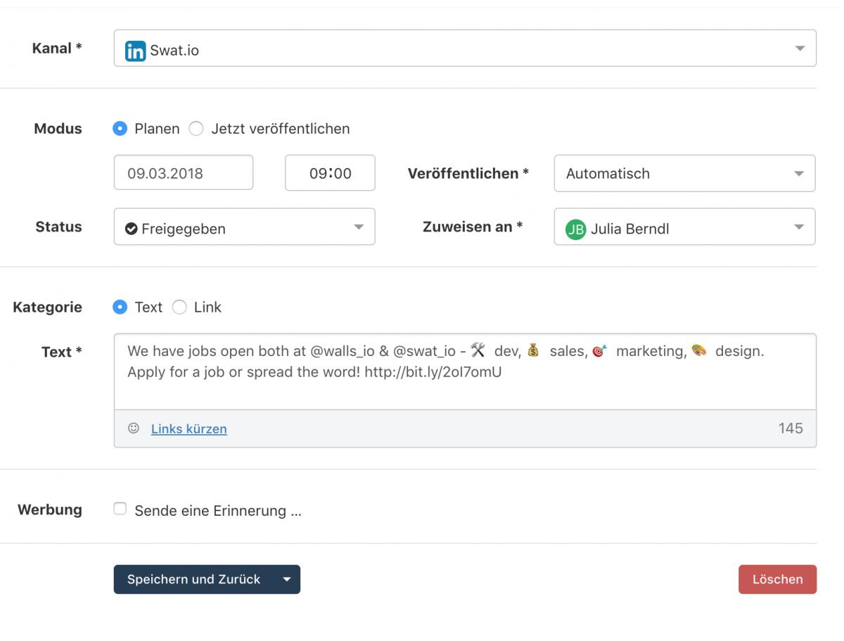Feature Update Februar 2018 - Veröffentlichen auf LinkedIn und verbessertes Monitoring 3