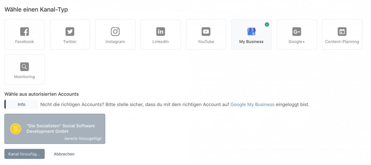 Google My Business als Kanal in Swat.io hinzufügen