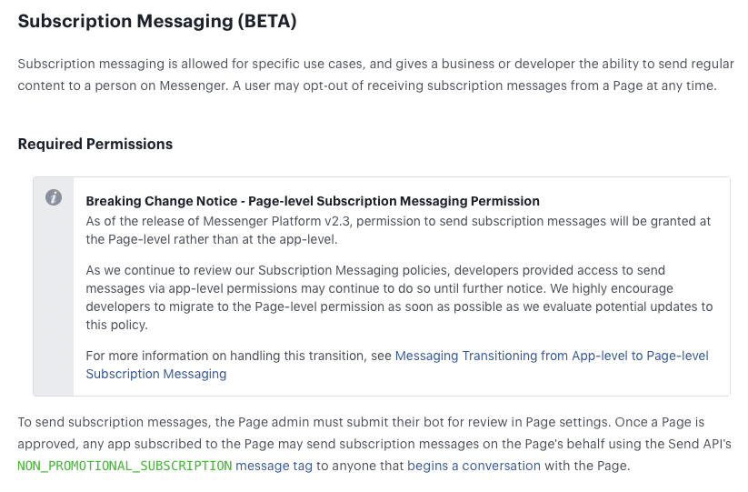 Required permission for subscription messaging with Facebook at page level