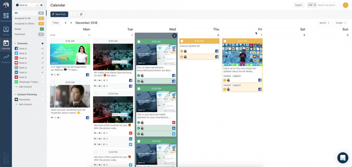New Swat.io calendar in a modern, tidy design