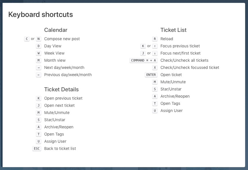 Keyboard shortcuts for faster navigation in Swat.io