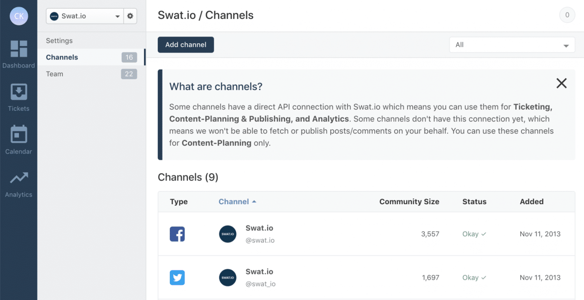 Swat.io Features: Channel Settings