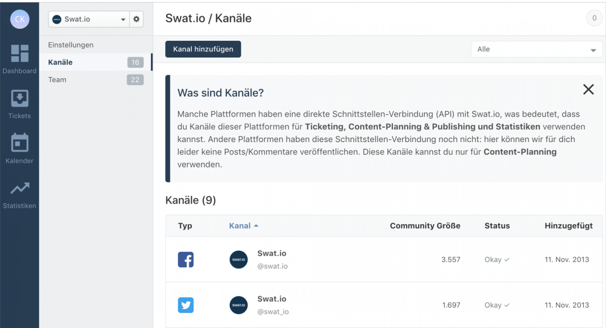 Swat.io Features: Kanal Einstellungen