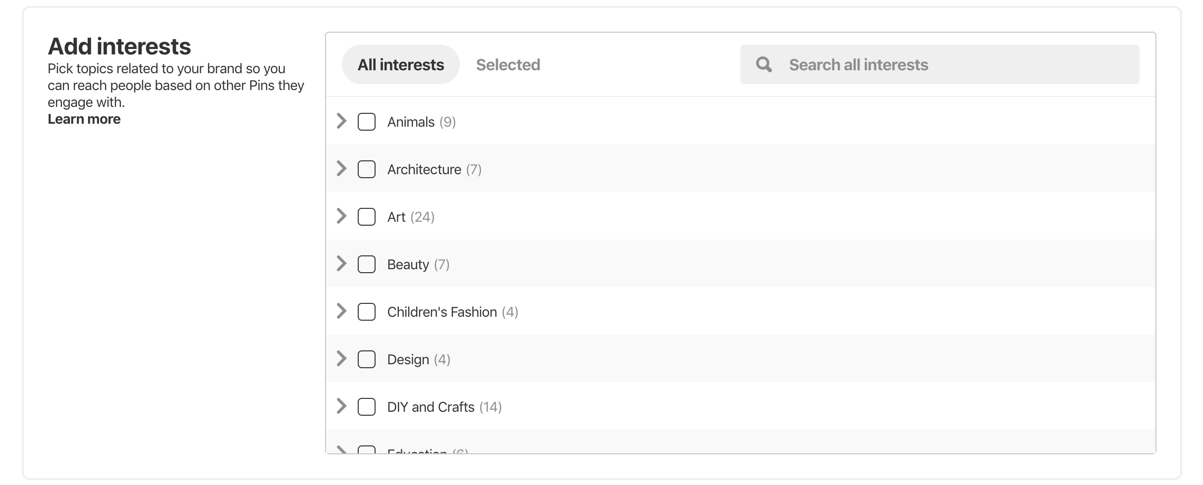 Pinterest Advertising Targeting Options Interests