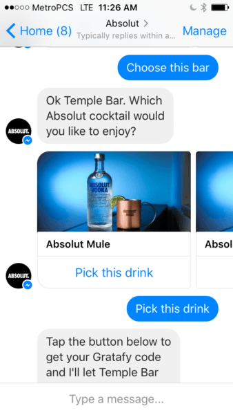 Absolut Messenger Campaign Free Drink