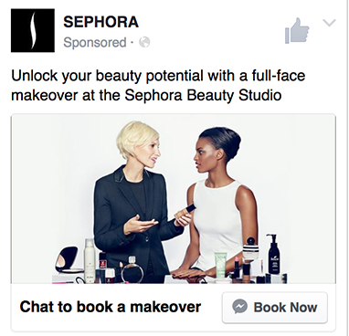 Sephora Sponsored Message Facebook Messenger