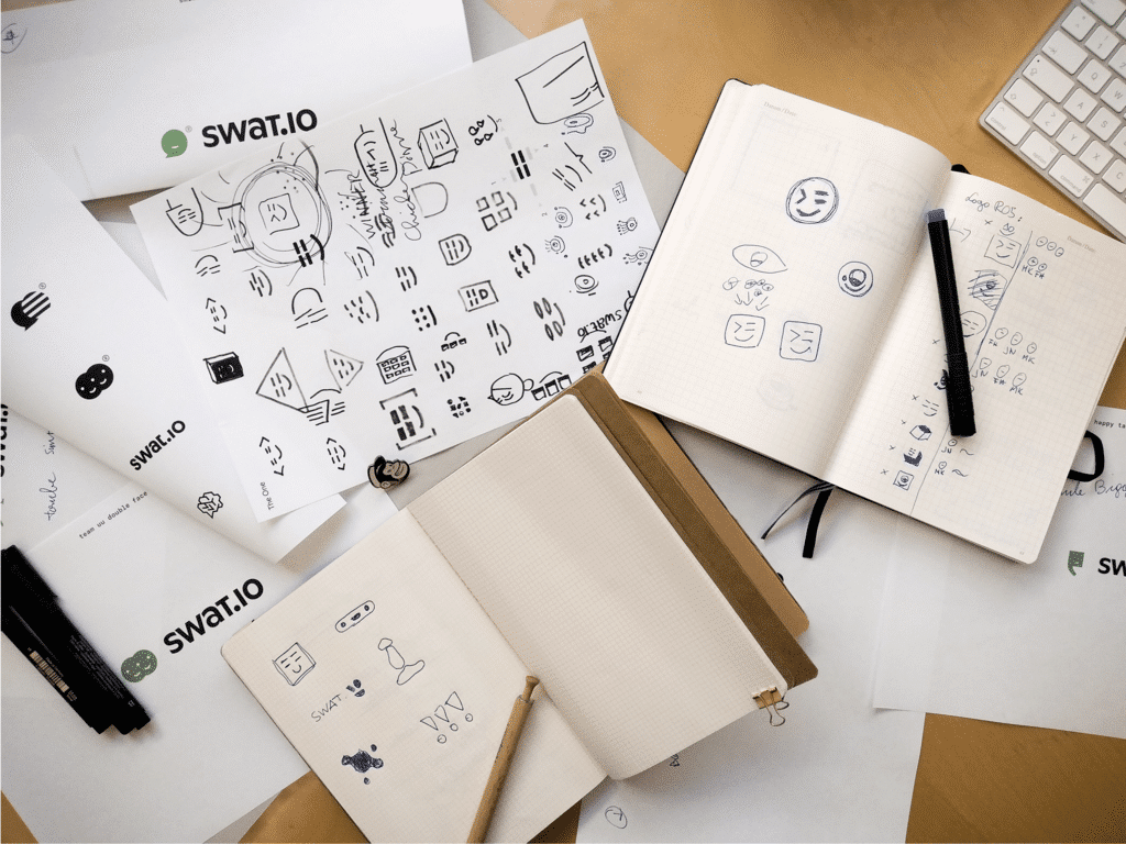 Logo Drafts Swat.io Rebranding all
