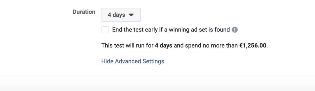 Facebook Split Test End Test Early
