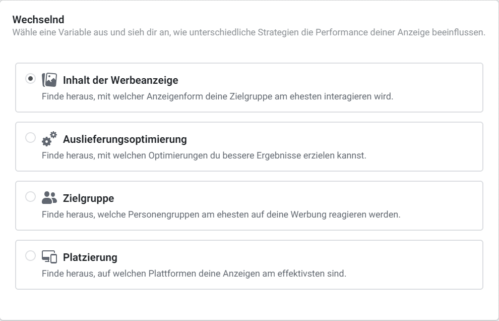 Facebook Split Test Variablen