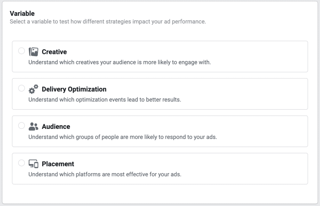 Facebook Split Test Variables