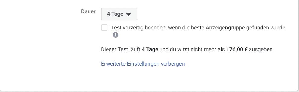 Facebook Split Test vorzeitig beenden