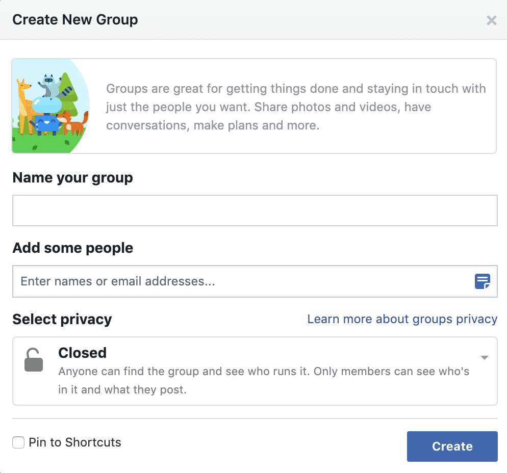 Facebook Groups Create Group
