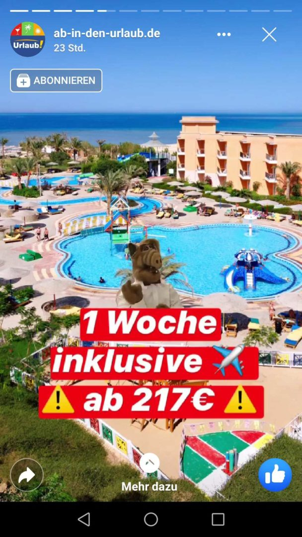 Facebook Stories Ab in den Urlaub Angebot