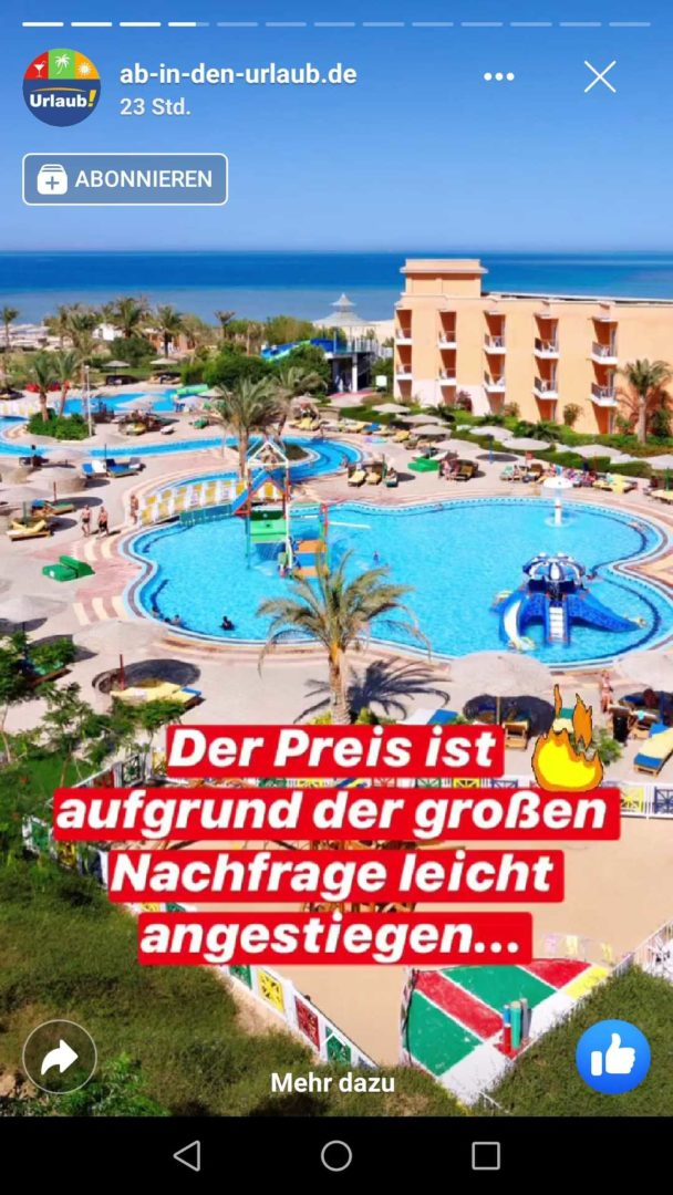 Facebook Stories Ab in den Urlaub Dringlich