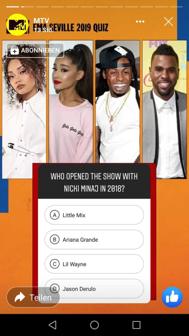 Facebook Stories MTV Branding Quiz Question