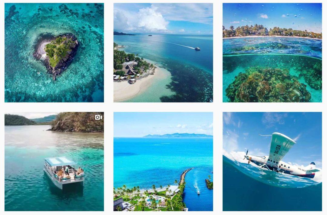 Tourismus Social Media Content Blau