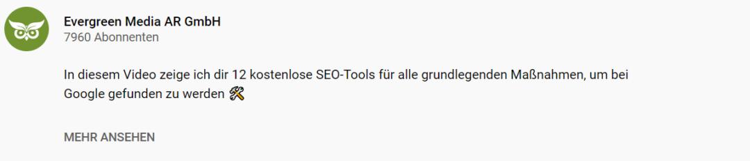 YouTube SEO Beschreibung