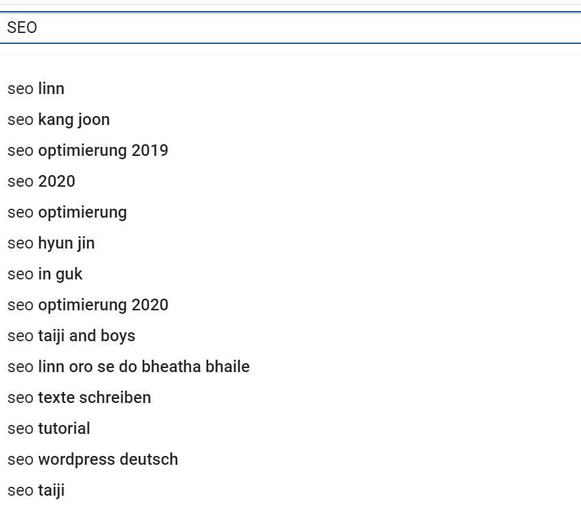 YouTube SEO Keywordkombinationen