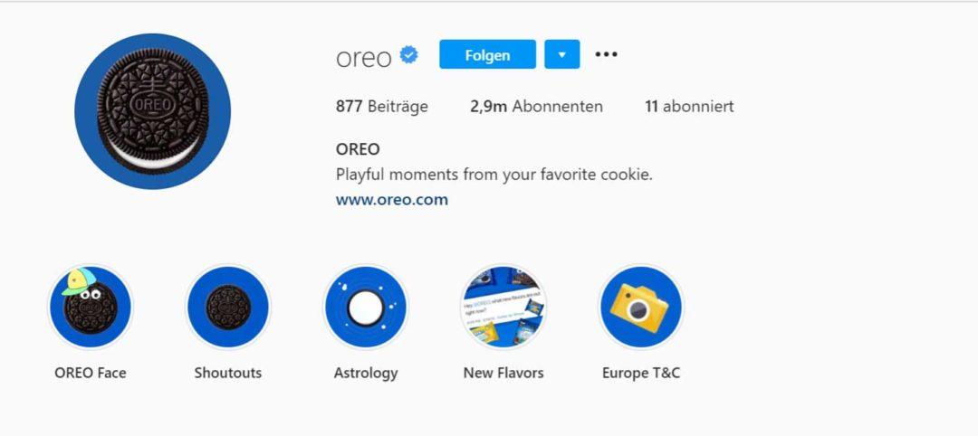 Instagram Bio kurz (Oreo)