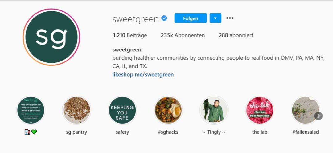 Instagram Bio kurz (Sweetgreen)