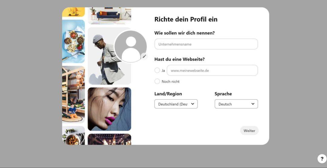 Pinterest Business Profil Unternehmensname Website