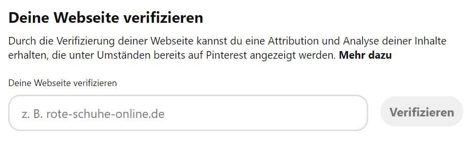 Pinterest Business Profil Website verifizieren