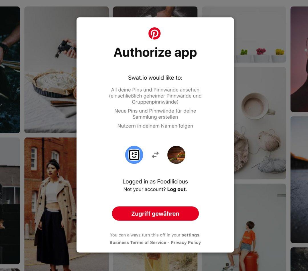 Pinterest Integration Swat.io: Autorisierung