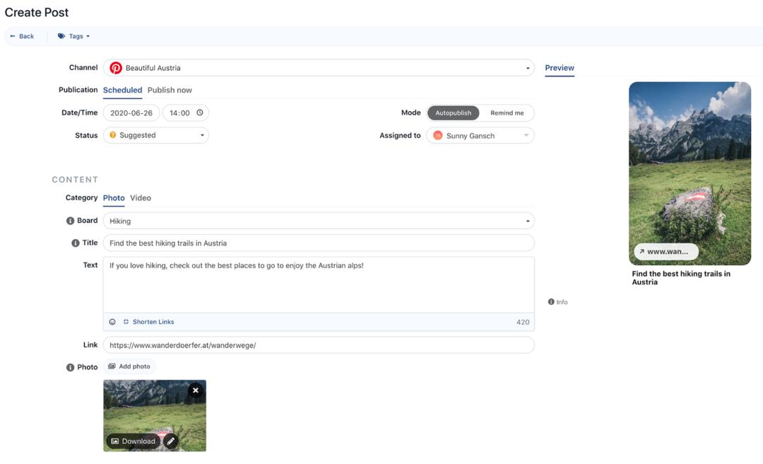 Pinterest Integration Swat.io: Composer
