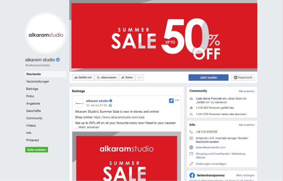 Sale Social Media Profil anpassen