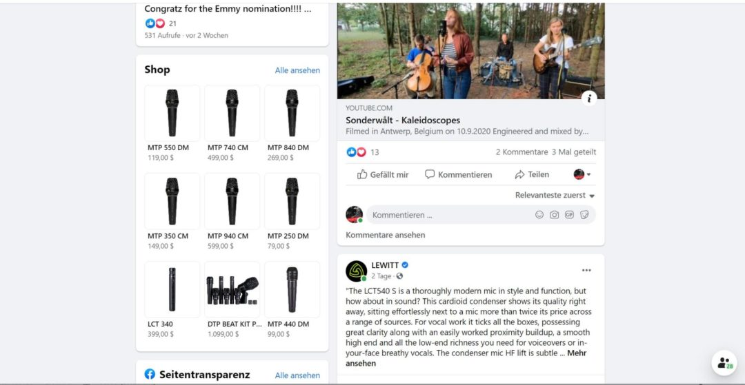 Facebook Commerce Manager Lewitt Page Tab