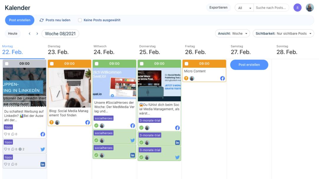 Social Media Management Tool: Redaktionsplan
