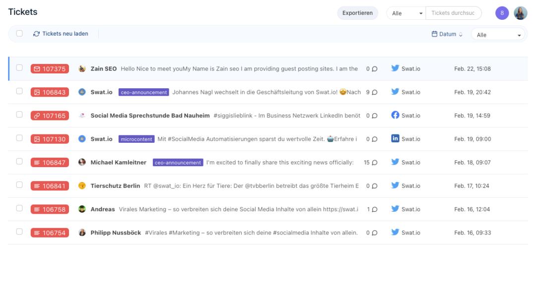 Social Media Management Tool: Ticket Inbox