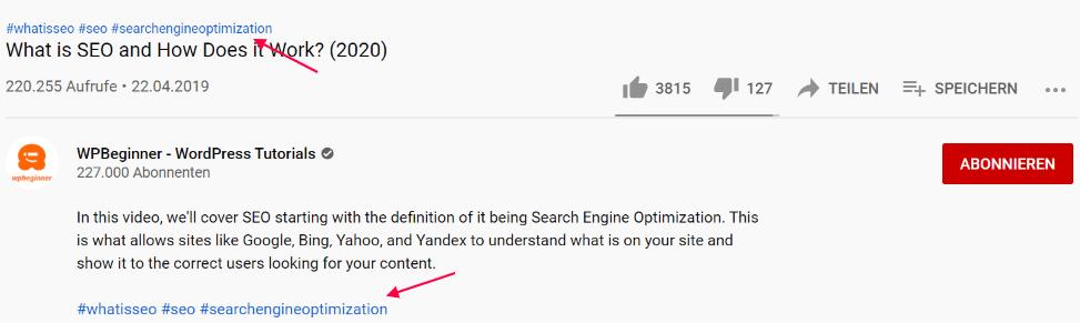 YouTube Hashtags: Beschreibung